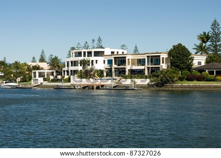 Luxury homes on a waterway, Surfers Paradise, Queensland, Australia - stock photo
