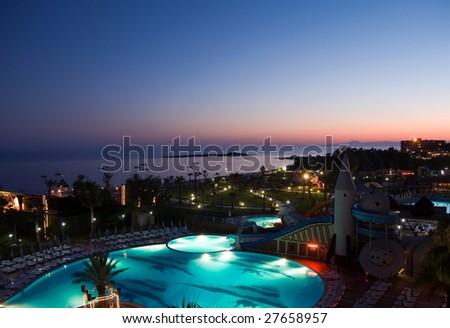 luxury hotel at night - stock photo