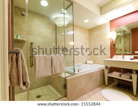 Luxury hotel bathroom.