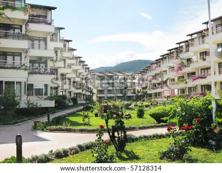 luxury hotel building complex of apartments - stock photo