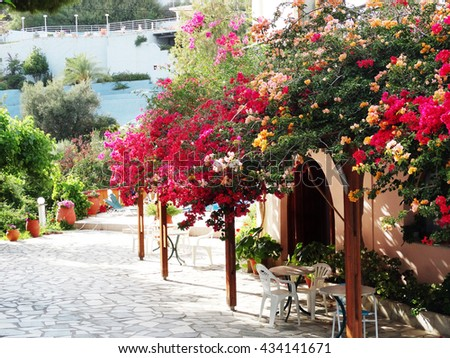 luxury hotel building complex of apartments Greece - stock photo