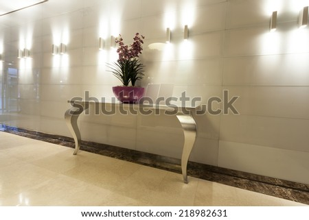 Luxury hotel hallway interior - stock photo