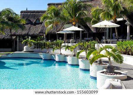 Luxury hotel in Mauritius - stock photo
