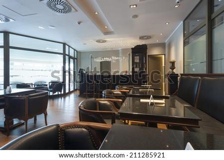 Luxury hotel lobby cafe - stock photo