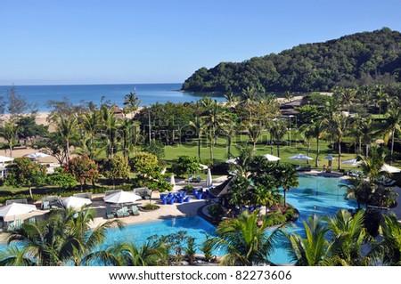 Luxury hotel resort near Kota Kinabalu, Borneo. - stock photo