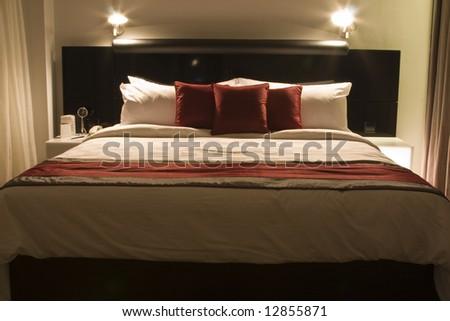 Luxury hotel room low light - stock photo