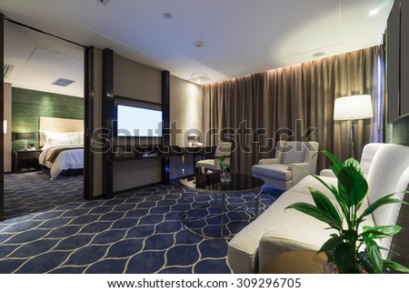 luxury hotel room with nice decoration - stock photo