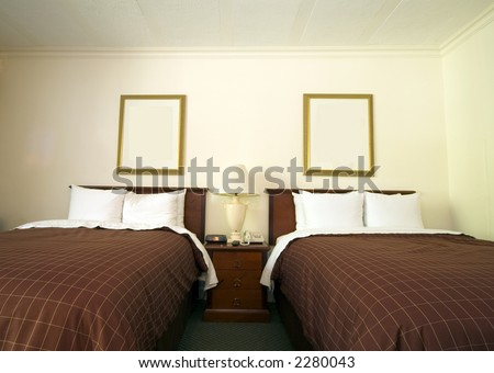 luxury hotel room with twin beds in capital San Salvador, El Salvador Central America - stock photo
