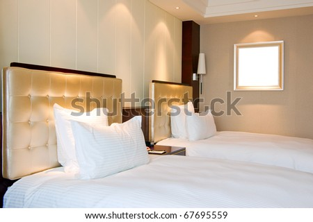 Luxury hotel rooms, clean and bright. - stock photo