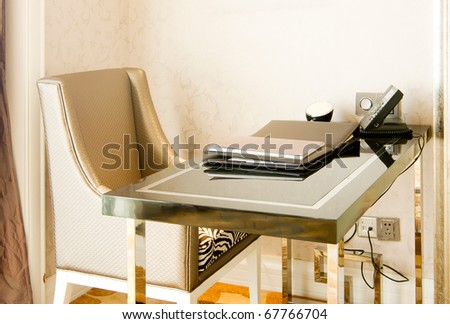 Luxury hotel rooms, Temporary office space. - stock photo