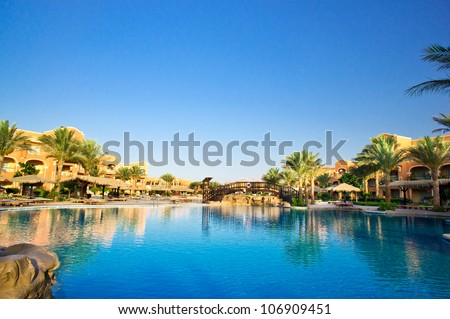 Luxury hotel swimming pool in the Egypt. - stock photo