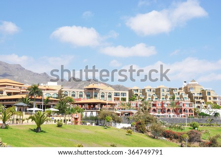 Luxury hotels at Torviscas Playa. Tenerife island, canaries - stock photo