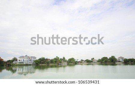 Luxury house and a lake in morning