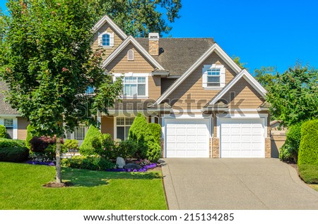 Luxury house at sunny day in Vancouver, Canada. - stock photo
