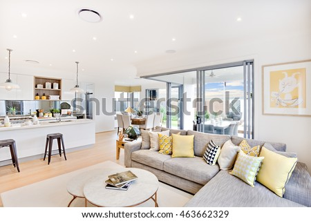 Luxury House Interior Focusing The Living Room Sofa And Pillows Next Round Table On Carpet