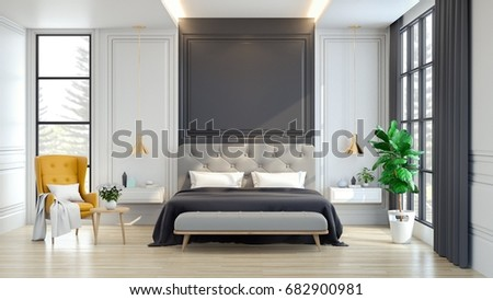 3d house interior. Luxury house  interior of Bedroom 3d rendering House Interior Rendering Stock Illustration