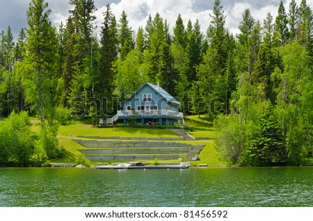 Luxury house on waterfront in Vancouver, Canada. - stock photo