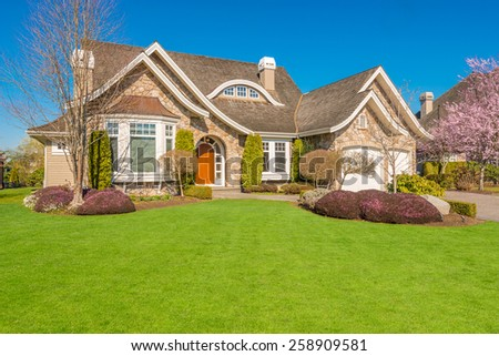 Luxury house with outdoor landscape in Vancouver, Canada. - stock photo
