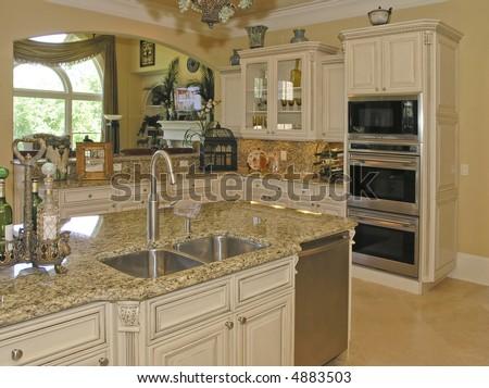Luxury House with regal elegant kitchen room - stock photo