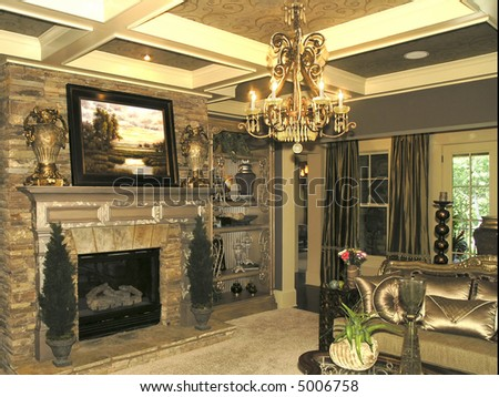 Luxury House with regal elegant living room - stock photo