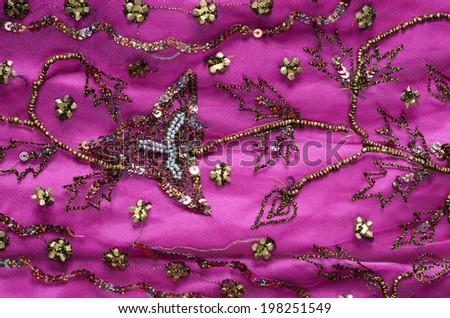 luxury indian fabric - stock photo