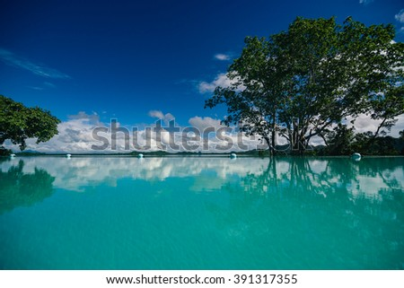 Luxury Infinity Pool in Sri Lanka - stock photo