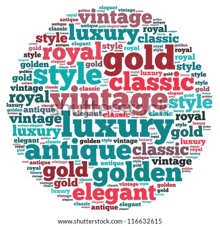 Luxury info-text graphics and arrangement concept on white background (word cloud)