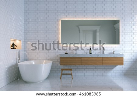 Luxury interior bathroom with bricks walls. 3d render.