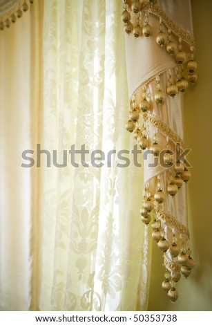 Luxury interior.Curtain - stock photo