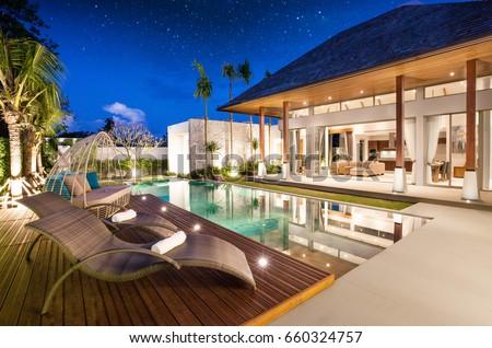 Luxury Interior Design Pool Villa Livingroom Stock Photo 660324757 ...