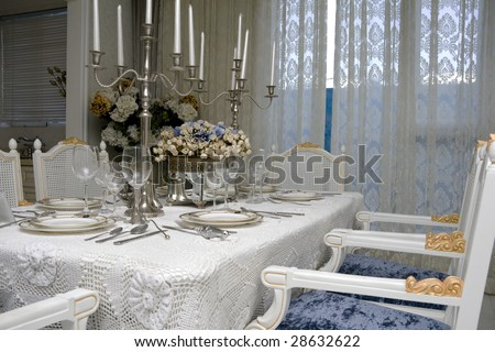 luxury interior dining room waiting for dinner - stock photo