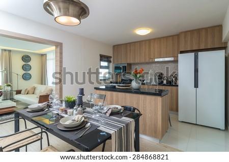 Luxury Interior kitchen, Dinning room - stock photo