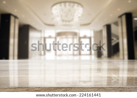 luxury interior of hotel and desk of free space  - stock photo