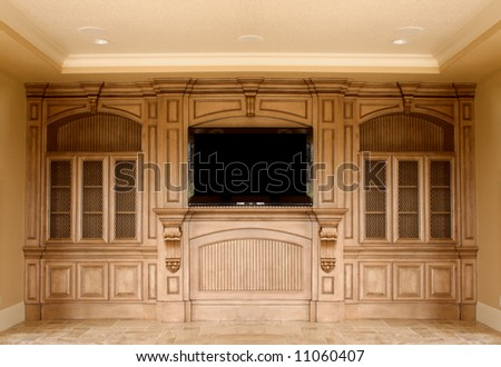 Luxury  intertaiments center with plazma TV - stock photo