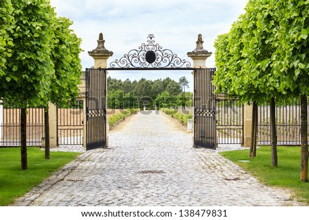 Luxury iron gate to the entrance of a vineyard near St-Emilion, France - stock photo