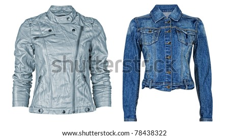 Luxury jeans jacket isolated on white + clipping path - stock photo