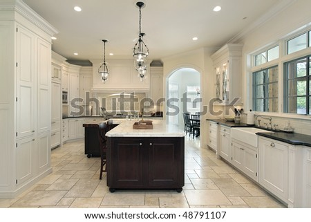 Luxury kitchen in suburban home with white cabinetry - stock photo