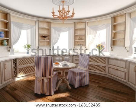 luxury kitchen interior in classic style (3D rendering)  - stock photo