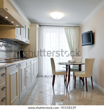Luxury kitchen interior with big window - stock photo