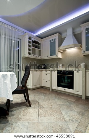 Luxury kitchen interior with customized furniture - stock photo