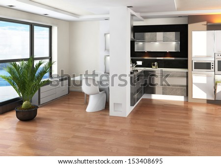 Luxury kitchen interior with floor to ceiling windows - stock photo