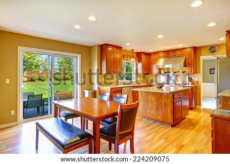 Luxury Kitchen Room With Island Dining Table Set And Exit To Backyard Patio Area