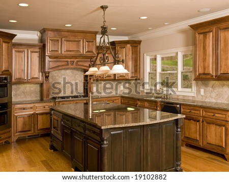 Luxury Kitchen with Center Island with three lights