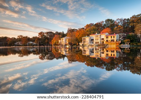 Luxury Lakefront Townhomes Lake Anne Autumn Landscape Reston Virginia - stock photo