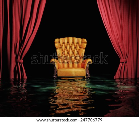 luxury leather armchair and red curtain in flooding  interior (3D) - stock photo