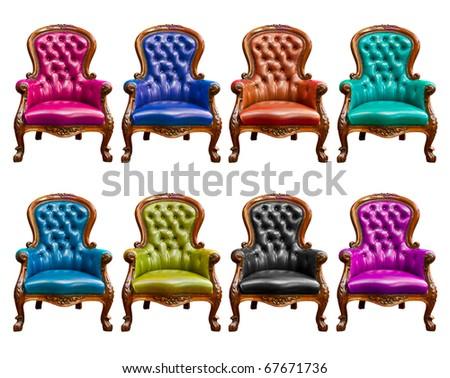 luxury leather armchair isolated - stock photo