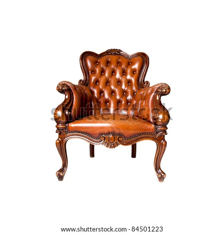 luxury leather armchair isolated - stock photo