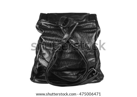 luxury leather black bag with sling and handle or loop for women on white and back view, isolated included clipping path