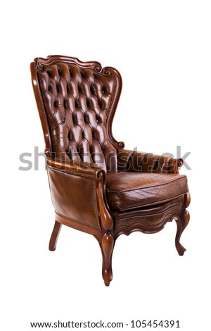 Luxury leather chair isolated on white background - stock photo