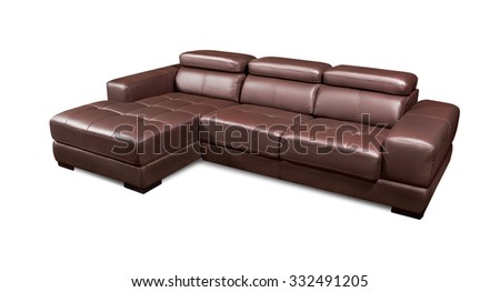 Luxury leather corner brown sofa isolated on white background - stock photo